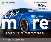 Zoomcar with Citi Cards: Flat 50%  Cashback