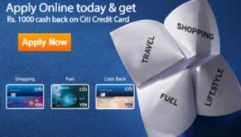 Get Free Rs.1000 Cashback on Citibank Credit Card Apply Online
